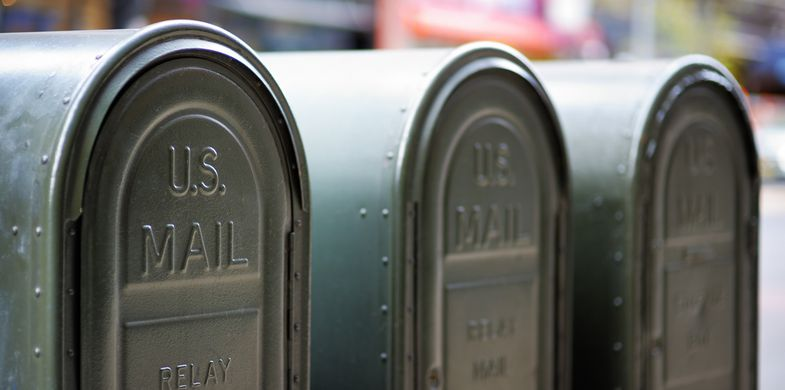 Mailbox, Post Office, USA, Postal Worker, U.S. Mail, Street, Box - Container, Letter, New York City, Speech, Container, Crate, Mail, Public Mailbox, Close-up, Envelope, In A Row, Large, Service, 2015, Arrival, City, City Life, Delivering, Downtown District, E-Mail, Horizontal, Iron - Metal, Metal, Newspaper, Outdoors, Photography, Residential District, Send, Town