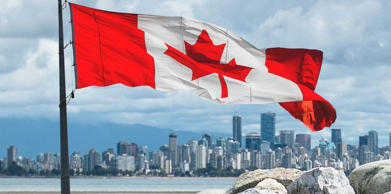 Canada, Vancouver - Canada, Canadian Flag, Urban Skyline, Flag, Canada Day, Canadian Culture, City, Beach, Cityscape, British Columbia, Nature, Waving, 2015, Bay of Water, British Columbia Coast Mountains, City Life, Coastline, English Bay, Famous Place, Freedom, Horizontal, Insignia, Landscaped, No People, North America, Outdoors, Pacific Coast Ranges, Pacific Ocean, Panoramic, Patriotism, Photog
