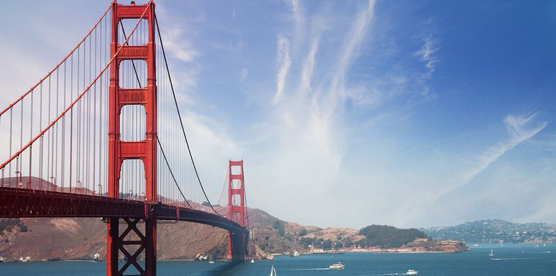 San Francisco - California, Golden Gate Bridge, California, Travel Destinations, Famous Place, Coastline, Red, International Landmark, Suspension Bridge, Tourism, Travel, Outdoors, Bay of Water, Day, Cityscape, Horizontal, Sea, Architecture, Cloud - Sky, Cloudscape, Photography, Transportation