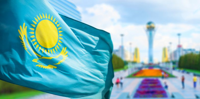 Kazakhstan, Astana, Flag, Asia, Growth, Urban Scene, Day, Reflection, Bird, Tree, Architecture, Digitally Generated Image, Horizontal, Outdoors, Wind, Architectural Feature, Kazakh Symbols, Park - Designer Label, Architecture And Buildings, Blue Flag, render, nation, Symbol, Sign, Monument, Industry, Famous Place, Satin, Street Light, Folded, Pole, Patriotism, Single Object, City Life, Revival,