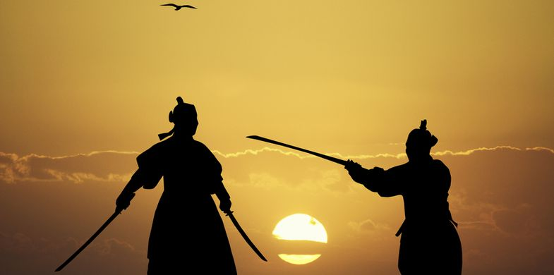 Samurai, War, Ninja, Art, Japanese Culture, Fighting, Stealth, Warrior - Person, Samurai Sword, South Korea, Backgrounds, Knight - Person, Sword, Portrait, Confrontation, Weapon, Sport, Horizontal, Asia, Indigenous Culture, Black Color, Dark, Cultures, Sunset, Silhouette, Defending, Adult, Art And Craft, Kimono, Razor Blade, Illustration, East Asian Culture, Self-Defense, Males, Men, Tribal Art, M