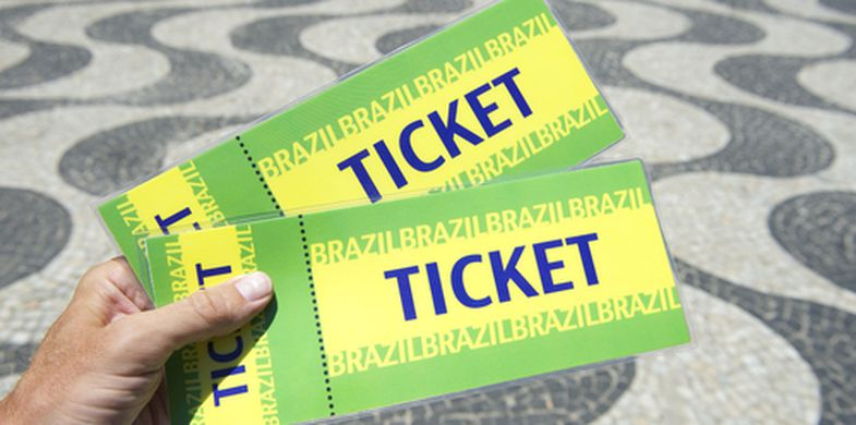 photography, photo, world cup, olympics, sidewalk, travel, horizontal, match, event, spectator, fan, rio, holding, football, brazil, copacabana, 2014, city, outdoors, soccer world cup, soccer, rio de janeiro, photograph, tickets, copa do mundo, championship, hand, sport, football world cup