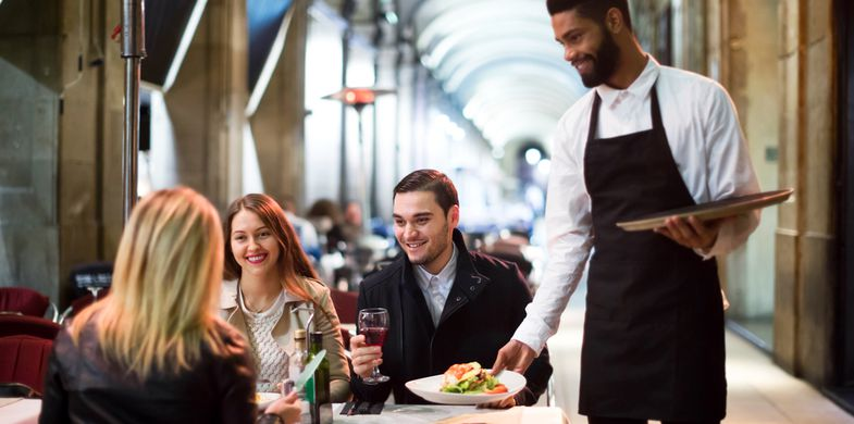 waiter,restaurant,spain,outside,eat,dinner,barcelona,square,black,portrait,happy,smiling,casual,meal,talking,hanging,30-35,adults,african,alcohol,arc,autumn,caucasian,celebration,clothing,cold,couple,drinking,european,female,gathering,glasses,group,having,lifestyle,male,meet,ordering,outdoor,outwear,people,placa,real,relaxed,russian,serving,together,wellness,young