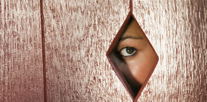 peeking, sneaking, voyeur, voyeurism, camera, hole, hidden, wall, woman, eye, peeping, horizontal, one, female, face, spying, watching, shaped, diamond, obscured, person, looking, searching